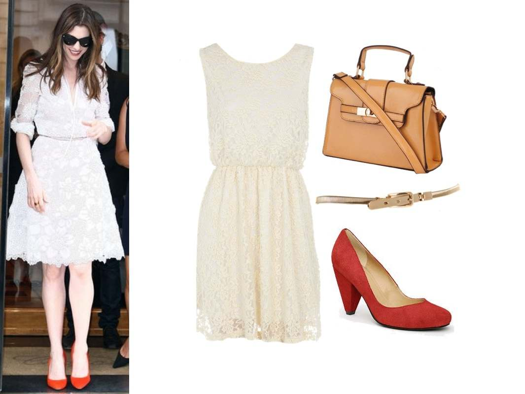 anne hathaway lace-dress